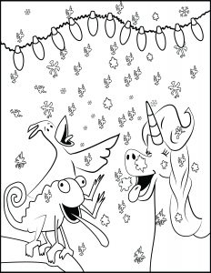 free christmas Coloring page Believe and catching snowflakes