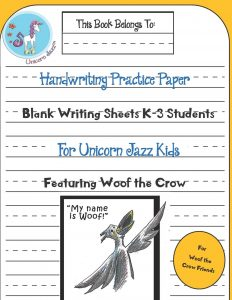 unicorn handwriting paper woof the crow