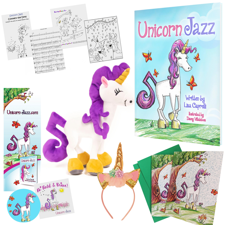 unicorn book and plush gift set for girls