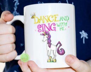 childrens unicorn book mug Unicorn Jazz