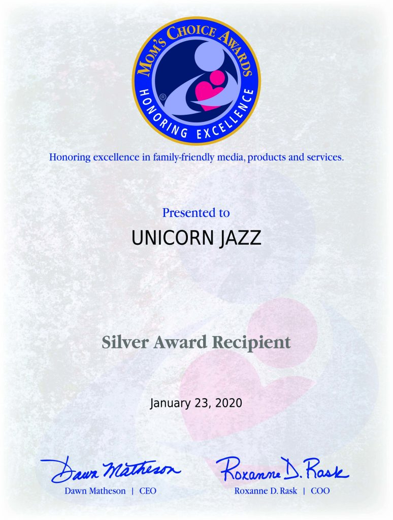 Moms choice award childrens book winner Unicorn Jazz