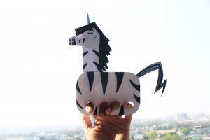 Hand Puppet for Boys and girls Trezekke Zebracorn Unicorn Childrens book series Unicorn Jazz