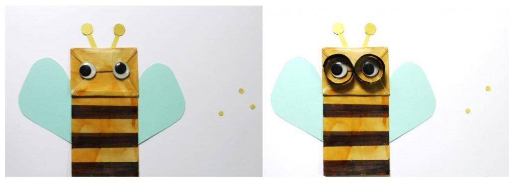 bee paper bag puppet being happy childrends books