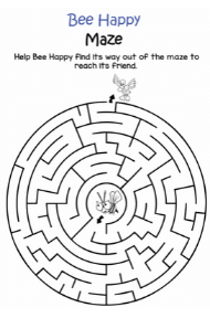 bee happy maze, coloring pages for kids, unicorn coloring pages