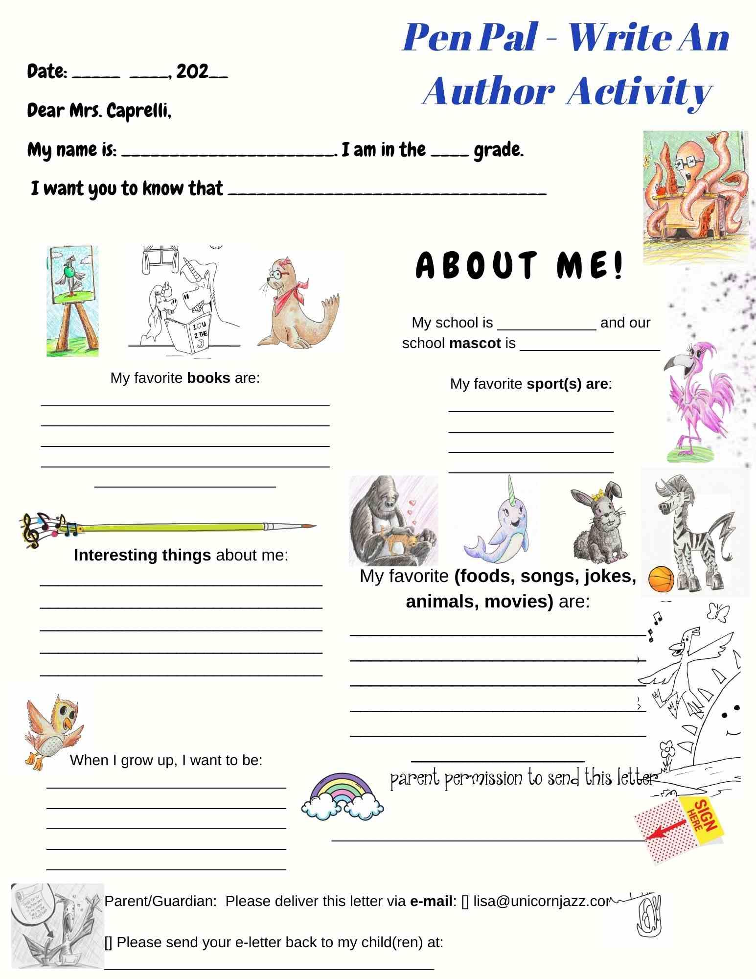Pen pal a letter to a children's author