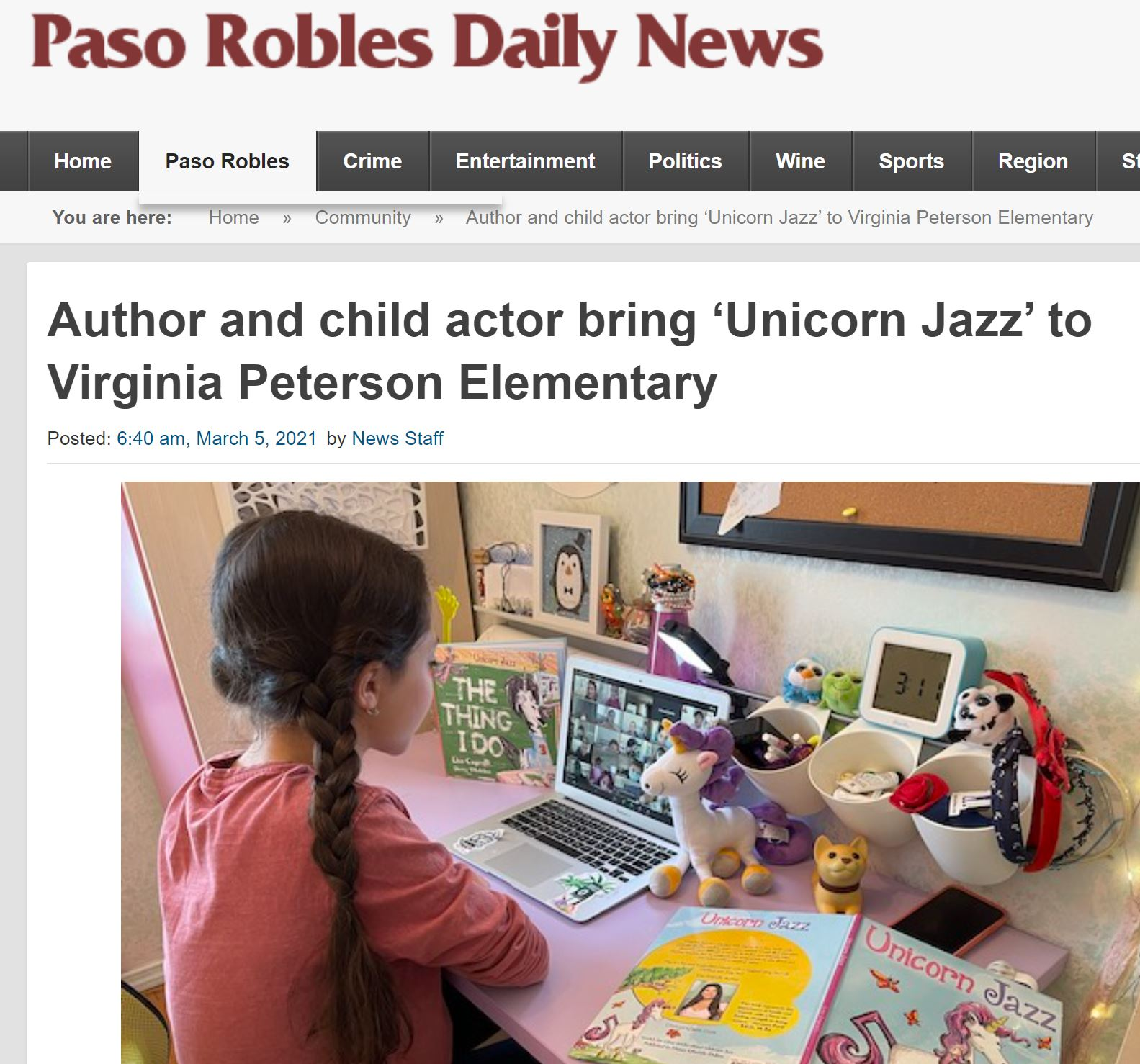 unicorn jazz virtual author visit lisa caprelli emily isabel virginia peterson elementary paso robles california