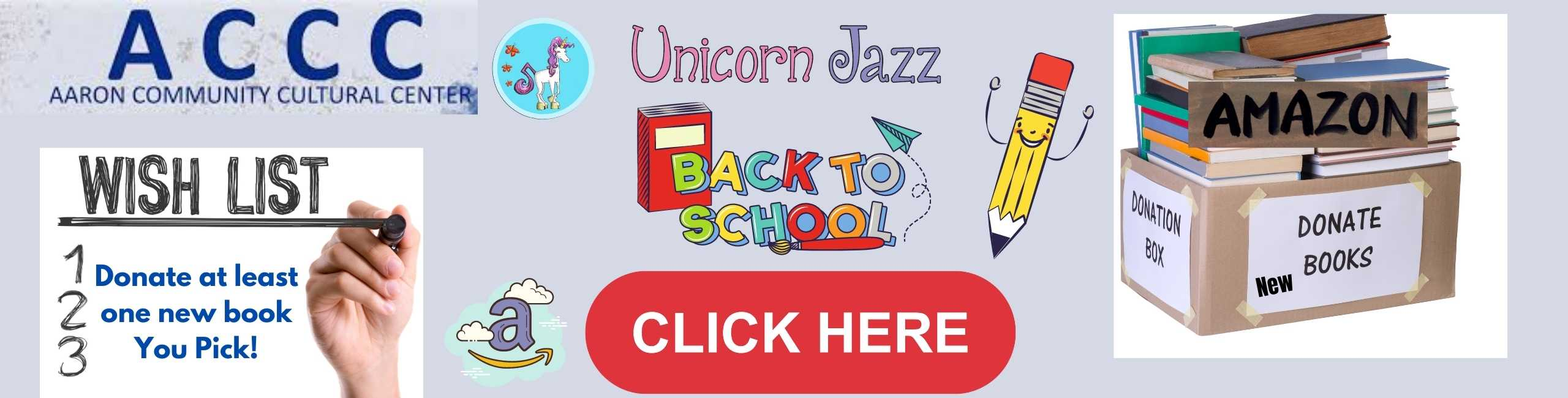 unicorn jazz Donation Book Drive Storytime & Song Saturday, August 7, 2021